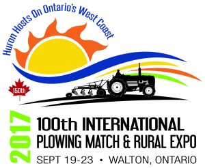 A cheerful sun rises in the background over a colourful banner of blue, yellow, red and green with a tractor pulling a plow sillouetted in the forground