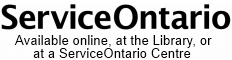 ServiceOntario at the Library logo