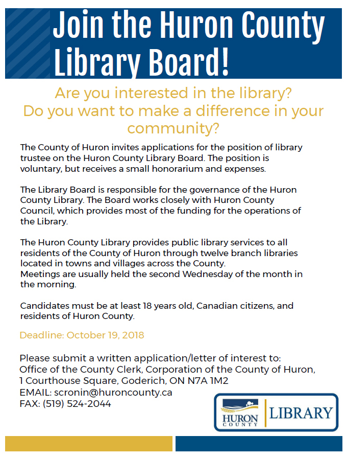 Join the Huron County Library Board ad 2018